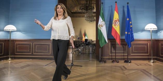La presidenta andaluza, el jueves pasado durante el anuncio de su convocatoria.