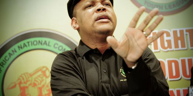 JOHANNESBURG, SOUTH AFRICA - JULY 25: (SOUTH AFRICA OUT) ANC Youth League treasurer general Pule Mabe defends the ANCYL president Julius Malema attends a news conference at Luthuli House on July 25, 2011 in Johannesburg, South Africa. (Photo by Foto24/Gallo Images/Getty Images)