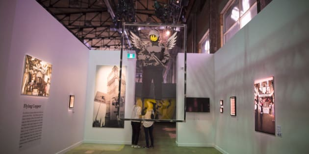 A preview of the Art of Banksy exhibit at 213 Sterling Road in Toronto is pictured June 11, 2018.