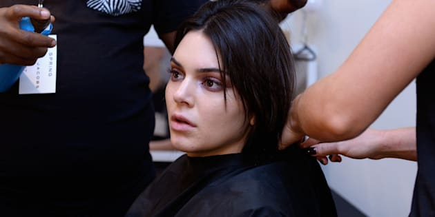 NEW YORK, NY - SEPTEMBER 15:  Model Kendall Jenner prepares backstage at the Marc Jacobs SS17 fashion show during New York Fashion Week at the Hammerstein Ballroom on September 15, 2016 in New York City.  (Photo by Presley Ann/Patrick McMullan via Getty Images)
