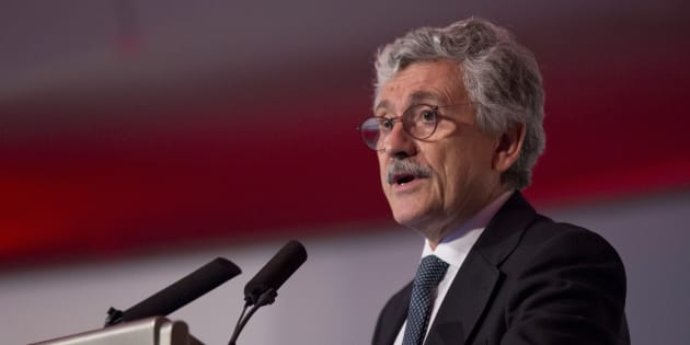 Massimo D'Alema, president Foundation of European Progressive Studies, and former Italian Prime Minister gives a speech at the Fabian Society Summer Conference 'Britain's Future, Labour's Future' 2016 at the Congress Centre, central London, in May 21, 2016.