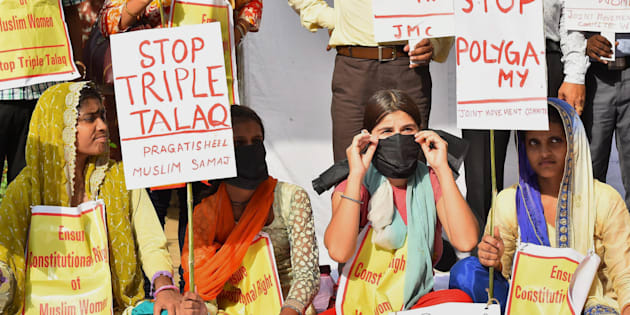 Activists  of Joint Movement Committee protest on the issue of 'Triple Talaq' at Jantar Mantar in New Delhi.