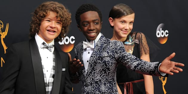 Gaten Matarazzo, Caleb McLaughlin and Millie Bobby Brown at theEmmy AwardsonSept. 18 in Los Angeles.
