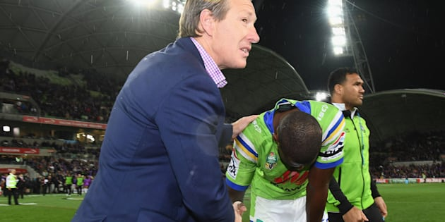 This is Peak Bellamy. Here. He consoles opposing player Edrick Lee, who dropped a crucial pass that could have cost his Canberra Raiders team victory.