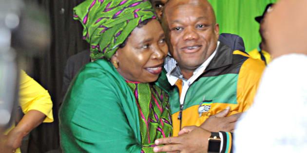 ANC presidential hopeful Nkosazana Dlamini-Zuma  and Sihle Zikalala at the ANC KwaZulu-Natal provincial general council on December 05, 2017 in Durban.
