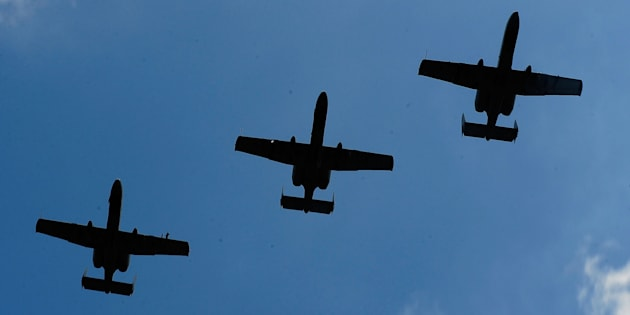 A-10 Warthogs planes perform a flyover on Aug. 15, 2010 in Brooklyn, Michigan.