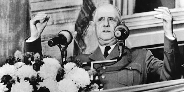 Former French President Charles de Gaulle making his famous