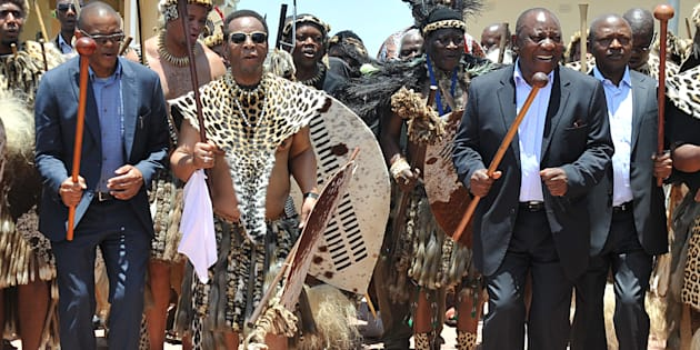 Zulu King Goodwill Zwelithini (second from left) teaching President Cyril Ramaphosa and fellow top six ANC members Gwede Mantashe, Ace Magashule, David Mabuza and Paul Mashatile the Zulu dance on January 7, 2018 in KwaZulu-Natal.