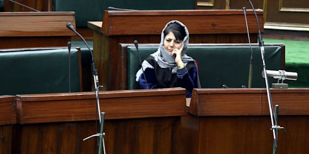 JAMMU, INDIA - JANUARY 16: Jammu & Kashmir Chief Minister Mehbooba Mufti during the Budget Session in Legislative Assembly, on January 16, 2017 in Jammu, India. (Photo by Nitin Kanotra/Hindustan Times via Getty Images)