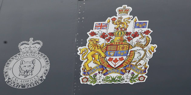 Canada's Coat of Arms is shown on the side of the Canadian airforce plane at Ottawa Macdonald-Cartier International airport in 2011.