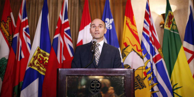 Social Development Minister  Jean-Yves Duclos speaks to media in Victoria, B.C. on  June 28, 2016.