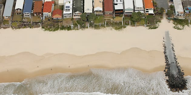 The increasingly eroded Gold Coast coastline. It is just a few km from the National Climate Change Adaptation Research Facility, which exists to help us manage problems like this, but whose funding is set to run out.