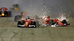 Ferrari disastro al Gp Singapore. Pronti, via... carambola, Vettel e Raikkonen subito