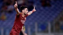 Javier Pastore marque d'une Madjer pour l'AS Roma.