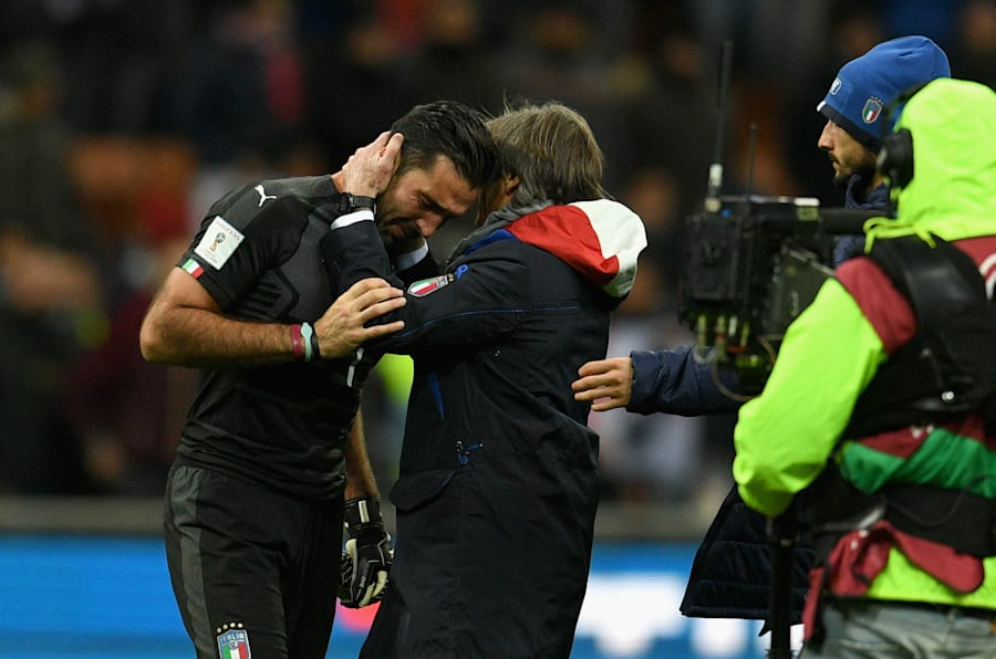 MILAN, ITALY - NOVEMBER 13:  Gianluigi Buffon of Italy and Team manager Italy Gabriele Oriali dejected at the end of the FIFA 2018 World Cup Qualifier Play-Off: Second Leg between Italy and Sweden at San Siro Stadium on November 13, 2017 in Milan, Sweden.  (Photo by Claudio Villa/Getty Images)