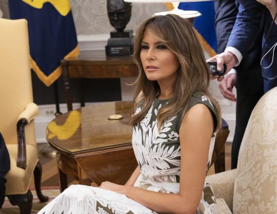 Melania Trump dons Valentino to host Queen Letizia