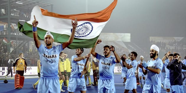 Lucknow: Indian players celebrate after defeating Australia in the Junior World Cup Hockey semifinal match in Lucknow on Friday, 16 December, 2016.