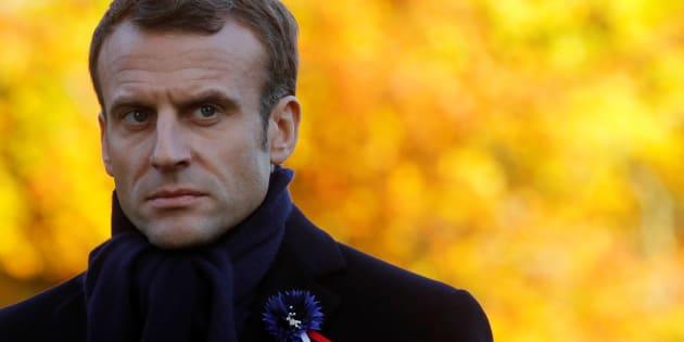 """Les quatre suspects voulaient s'en prendre à Emmanuel Macron (ici à Thiepval le 9 novembre) lors de son """"itinérance mémorielle"""" avant le 11-Novembre."""