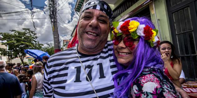 Bloco de carnaval Esfarrapados, no centro de São Paulo.