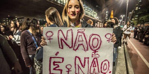 Protesto em São Paulo contra estupro coletivo de jovem no Rio de Janeiro, em 2016