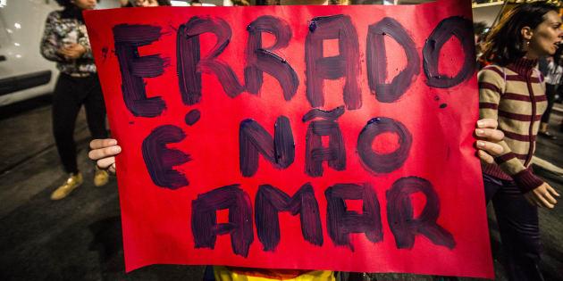 Manifestação em São Paulo a favor de direitos LGBT.