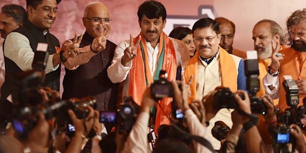 Delhi BJP President Manoj Tiwari during a press conference at Delhi BJP Office after party's victory in MCD elections.