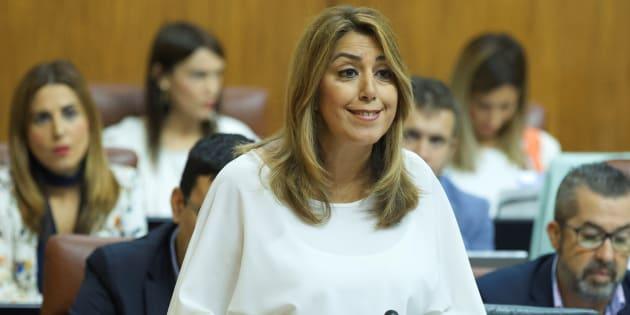 La presidenta andaluza, Susana Díaz, este jueves en el Parlamento andaluz.