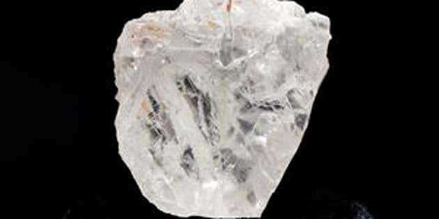 """The 1,109-carat """"Lesedi La Rona"""" diamond is displayed in a case at Sotheby's on May 4."""