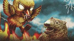 二大怪獣が池田市で激突?