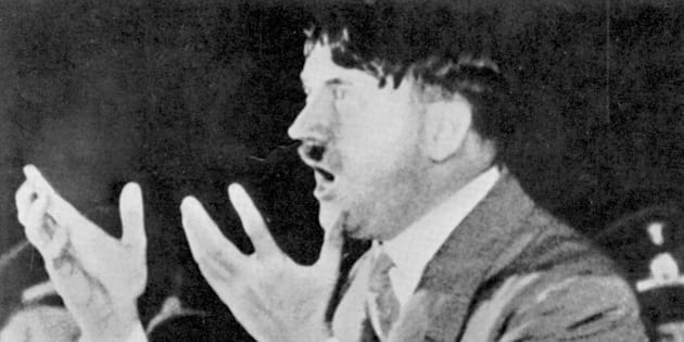 Adolf Hitler addressing Nazi rally in Munich
