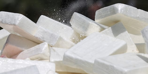 Packages containing cocaine and other substances are piled up before their incineration at a military base in Santo Domingo, Dominican Republic on Thursday.