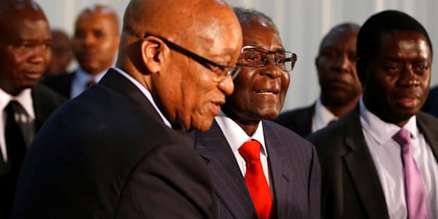 South African President Jacob Zuma (L) gestures as he hosts his Zimbabwean counterpart, President Robert Mugabe during the 2nd Session of the South Africa-Zimbabwe Bi-National Commission in Pretoria this week.