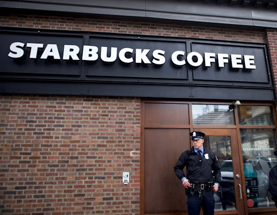 Fraternity brothers protest outside Starbucks