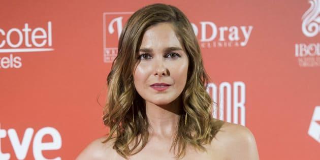 La actriz Natalia Sánchez, durante el estreno de 'El jugador de Ajedrez' en Madrid el 25 de abril de 2017.