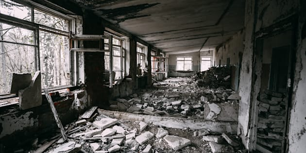 Abandoned Building Interior In Chernobyl Zone. Chornobyl Disasters