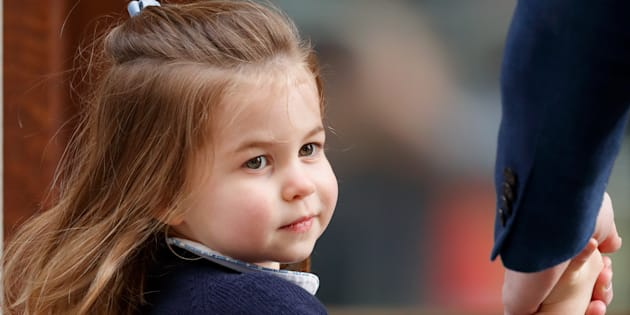 Princess Charlotte of Cambridge arrives at St Mary's Hospital to visit Prince Louis on April 23, 2018 in London, England.