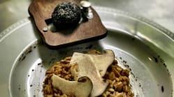 Risottode trufa negra con foie gras fresco, hongos y manitas de cordero