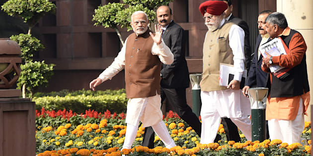 Prime Minister Narendra Modi leaves after the Bharatiya Janata Party parliamentary party meeting to attend the Winter Session at Parliament on November 29, 2016 in New Delhi, India. ( Photo by Sonu Mehta/Hindustan Times via Getty Images)