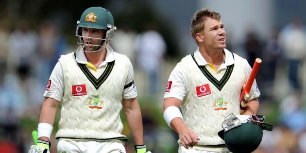 Hughes and Warner batting together in 2011.