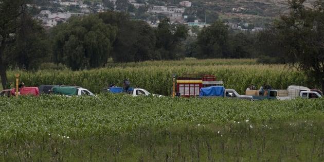 En esta foto del 11 de julio de 2017, ladrones de gasolina esperan en la fila para robar el gas de un grifo ilegal en un gasoducto estatal, en medio de un campo de maíz en San Bartolomé Hueyapan, Tepeaca, México.