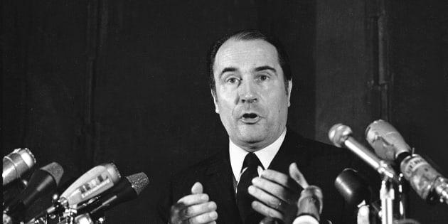 Conférence de presse de F. Mitterrand le 28 mai 1968 (AP Photo/Levy)