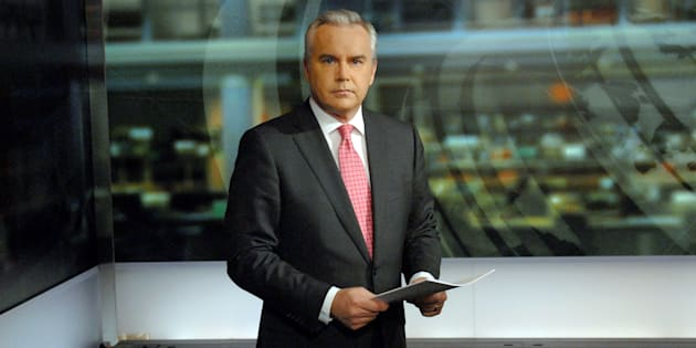 News anchor Huw Edwards is seen in a BBC studio.