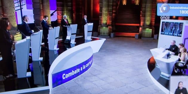 Aspectos de la transmisión del primer debate entre candidatos que aspiran a la presidencia.