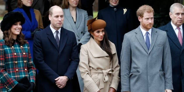Catherine, Duchess of Cambridge, Prince William, Duke of Cambridge, actress Meghan Markle and Prince Harry wait to see off Queen Elizabeth II after attending the Christmas Day church service at St Mary Magdalene Church in Sandringham, Norfolk, on December 25, 2017.
