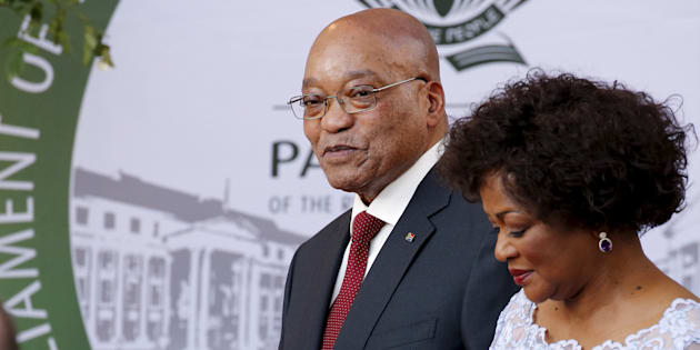 President Jacob Zuma arrives with Speaker of Parliament Baleka Mbete to give his State of the Nation address at the opening session of Parliament in Cape Town, February 11, 2016.