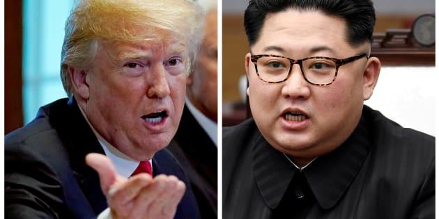 Una foto de combinación muestra al presidente de EE. UU. Donald Trump y al líder norcoreano Kim Jong Un en Washignton, DC.