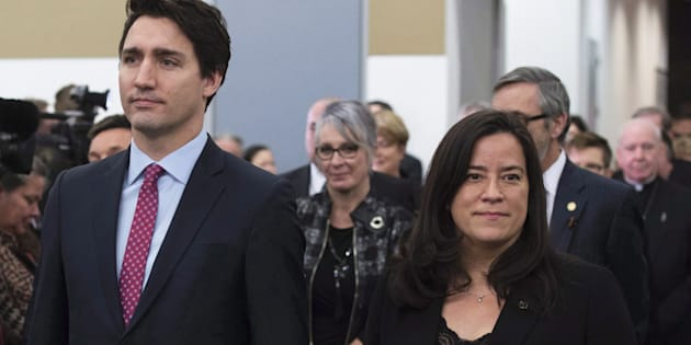 Prime Minister Justin Trudeau and then-minister of justice and attorney general Jody Wilson-Raybould attend the release of the final report of the Truth and Reconciliation commission on Dec. 15, 2015 in Ottawa.