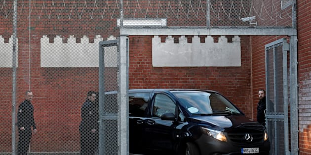 A vehicle, believed to carry detained former Catalan leader Carles Puigdemont, arrives at the prison in Neumuenster, Germany, March 26, 2018.     REUTERS/Fabian Bimmer