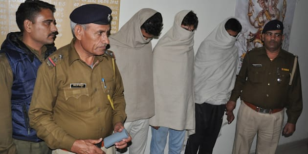 The accused of Rohtak eve-teasing case in police custody on November 30, 2014 in Rohtak, India.
