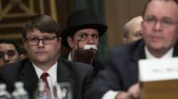 Monopoly Man Photobombs US Senate